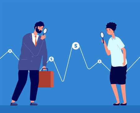 Investment opportunity. People buy money, business investor watch graph. Finance solutions vision or stock exchange traders vector concept. Business investor watch to finance graph data illustration
