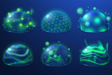 Transparent protection. Safety shield, energy bubbles for protect. Security fields with grid future, abstract 3d sphere recent vector set