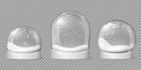 Empty snowballs. Snow globe, spherical shape glossy dome. Holiday bowl on base and snowflakes inside, christmas toys recent vector set