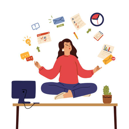 Business woman meditate. Calm emotions, healing body and mind on office. Girl control stress yoga meditation, balance vector concept. Exercise awareness and meditate relax, calm in office illustration