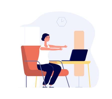 Home training. Woman work with laptop, office syndrome preparation. Girl stretching vector concept. Illustration training at laptop, activity and relaxation stretching Çizim