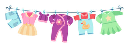 Flat children clothes. Colorful dresses, little kid unisex apparel on clothesline. Isolated element for birthday or baby shower vector cards. Baby newborn pants, clothes on clothesline illustration Ilustração Vetorial