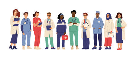 Hospital team. Medical employees in uniform, healthcare workers administrator doctor. Pharmacist clinic staff swanky vector. Medical team doctor, specialist hospital and staff clinic illustration