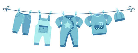 Boy newborn clothes. Cute blue pants, sweater and hat. Apparel for little man drying on clothesline vector illustration. Pants to newborn on clothespin