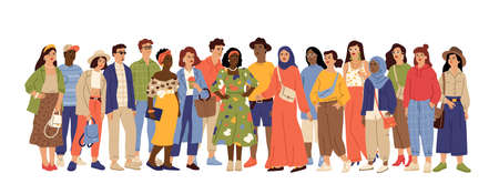 Multicultural people crowd. Diverse person group, isolated multi ethnic community portrait. Adult african european swanky vector characters. Crowd multicultural, woman and man different illustration Vetores