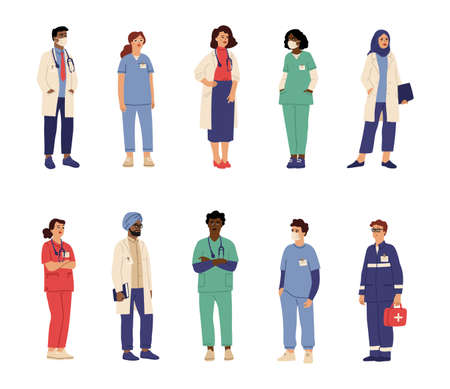 Doctor nurse characters. Health professionals, isolated medical hospital persons. Male paramedic surgeon, swanky healthcare team vector set. Illustration medical professional hospital staff