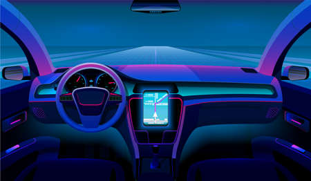 Inside futuristic car. Neon auto, modern interior and road grid. Driverless vehicle on night traffic vector background. Illustration self-driving futuristic interior dashboard