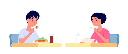 Children eating. Healthy meal, kids eat snack and drink at table. Cartoon boy girl kindergarten breakfast, child lunch vector illustration. Kids eat breakfast, delicious meal and snack