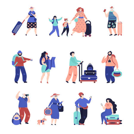 Travel people. Travellers couple, seniors tourist with suitcase. Single vacation character, airport decent female male passengers vector set. Illustration woman and man, family travel