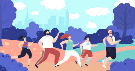 Outdoor jogging characters. Person running, park fitness workout people. Flat man woman run, marathon decent active athletes vector concept. Illustration running activity, health motion jogger