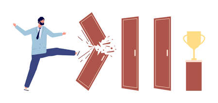 Man broken door. Way to success metaphor, work progress or overcoming obstacles. Businessman and troubles vector concept. Businessman strong breakthrough, breaking difficulty wall illustration