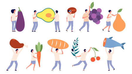 Tiny people hold big food. Fruit vegetables, giant goods. Store or supermarket characters, farm industry. Woman man with grape meat fish vector set. Illustration people with food nutrition, huge food Ilustracja