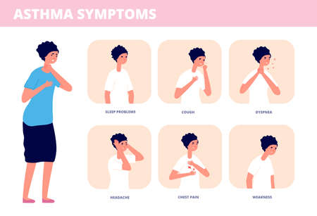 Asthma symptoms. Person choking, chronic breathing problem disease. Asthmatic breath infographic, allergy or sickness utter vector concept. Illustration asthma symptoms, medical allergy