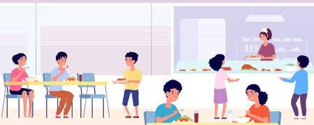 School canteen. Kids lunch, eating cafeteria room with friends. Students food drink in cafe. Public college dining hall vector concept. Canteen lunchtime children, university breakfast illustration