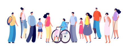 Special people. Disabled person in wheelchair, medicine for handicap. Diverse friends together, man woman kid group vector set. Handicapped character, woman and man with stick support illustration