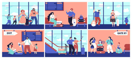 Airport tourist. Couple travellers, girl friends with baggage waiting flight. Family journey, happy people decent vacations vector concept. Illustration boarding and waiting in terminal airport Ilustrace