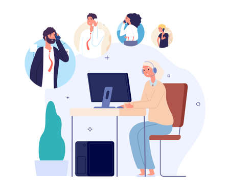 Call center operator queue. Support waiting line, people help or faq. Woman work, customer manager at computer desk with headphones vector concept. Illustration customer support, queue to helpdesk
