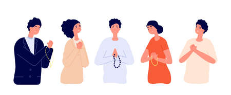 People pray. Say please, apologize man woman. Cartoon praying young persons with hopeful sad expressions folded hands utter vector concept. People hope and sorry, prayer pray illustration