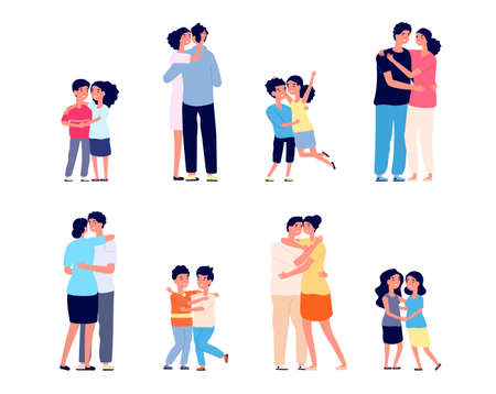 People hugs together. Couple hugging, friendship of smiling girl boy. Happy friends, cartoon adults children relationship utter vector set. Female and male hugging, smiling greeting illustration
