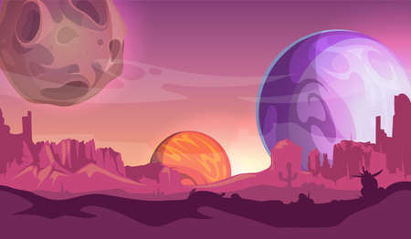 Cosmos background. Universe, view from another planets. Cartoon space, magic world vector illustration. Universe view to planet landscape, globe ground scene gui