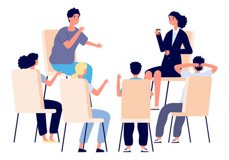 People meeting. Psychotherapy training, business lecture or conference. Persons sitting talking. Man woman support group vector. Psychiatrist help together seminar, business professional meeting Ilustracja