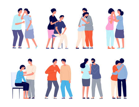 People comforting. Man support, comforted shoulder hugs or emotional characters. Persons together, empathy girl and comfort utter vector set. Support man and woman, people together illustration