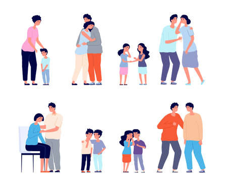Family consoled. Cartoon supportive friend, grief or depression comforted. Husband support wife, mother hugging sad kid utter vector concept. Hugging family, mental depression support illustration Illustration