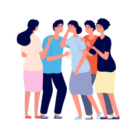 Friends consoled. Cartoon team, dependence or support. Young people comforting girl. Depression or psychology helping utter vector concept. Support team group, friendship community illustration