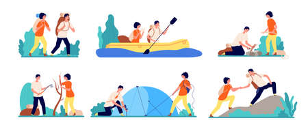 Friends travel adventures. Hiking tourist, man boating on river travelling. Adults journey camping, peak mountain utter vector set. Illustration man and woman tourism activity, adventure camping