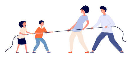 Family game. Child parents pull rope, tug of war play adults children. Relationship balance or generational competition utter vector concept. Family and child confrontation and fight illustration