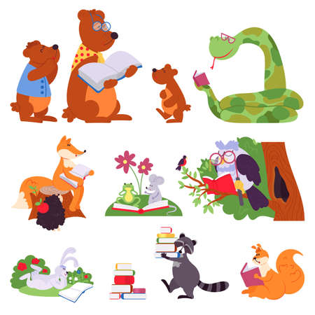 Animals reading. Bird animal read book, cute cartoon forest wild characters. Children school education, owl bear learning decent vector set. Anumal with book, funny rabbit and fox illustration