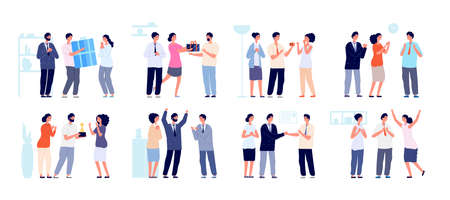 Colleagues clapping. Thankful business people, man woman support employees. Office enthusiastic characters clap in hands utter vector set. Business people support and celebration illustration Ilustracja