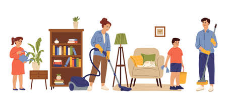People cleaning home. Family living room, mom daughter doing house work. Householding, kids adult housekeeping swanky vector concept. Together housekeeping at home, housework clean illustration Vector Illustratie