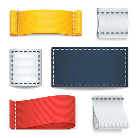 Realistic color blank fabric labels, badges with stitching vector set