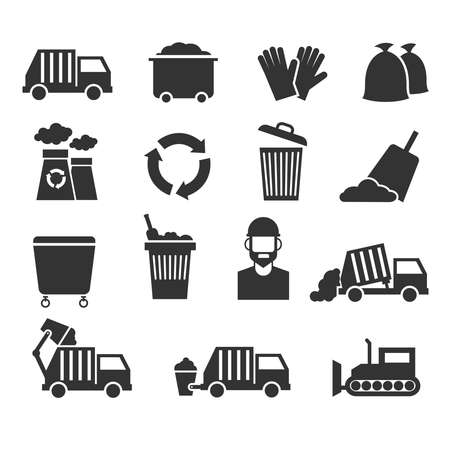 Trash recycle garbage waste vector icons