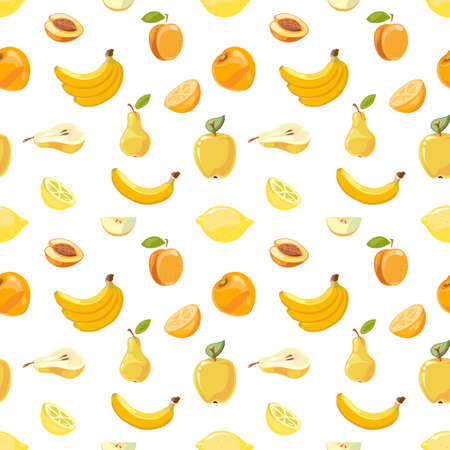 Yellow fruits seamless pattern over white background Ilustração