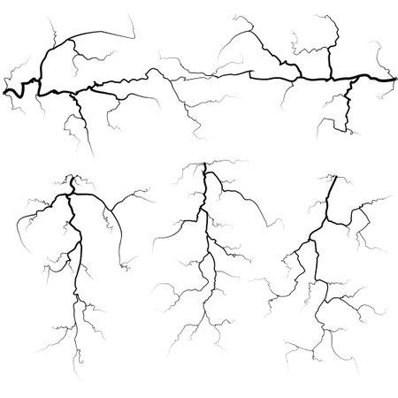 Set of thunder bolts in black isolated over white Иллюстрация