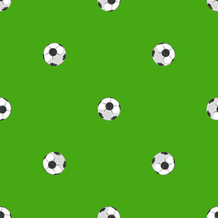 Soccer balls over green field seamless pattern