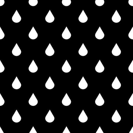 Black and white vector water drops seamless pattern Ilustracja