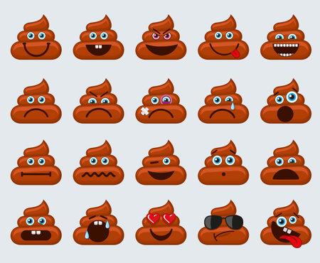 Poop emoticons smileys icons Ilustracja