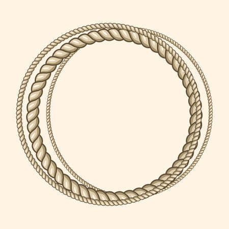 Round marine ropes frame for text Illustration