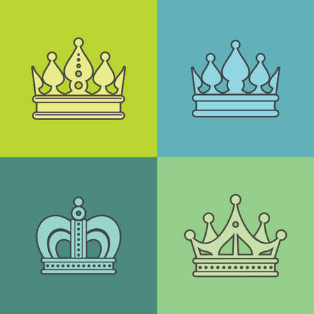 Light crown icons on color background