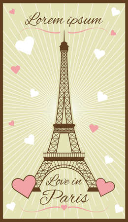 Vector greeting card with eiffel tower Иллюстрация