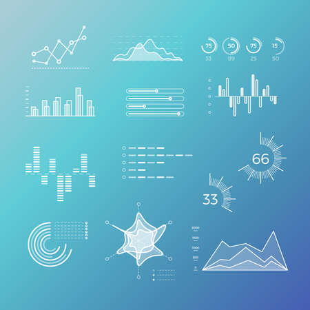 Thin line vector graphs, charts, diagrams with flat elements