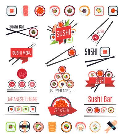 Japanese sushi bar or restaurant menu vector set Vektorové ilustrace