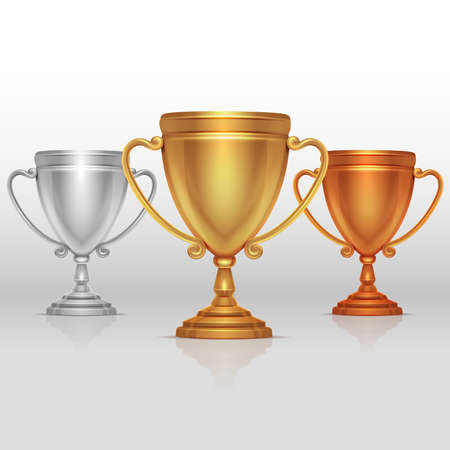 Gold, silver and bronze winners cup, goblet vector set
