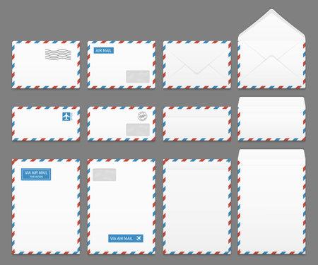 Air mail paper letter envelopes vector set