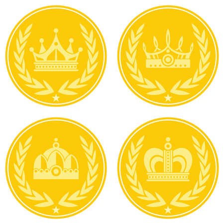 Yellow coin icons with crown on white background Ilustracja
