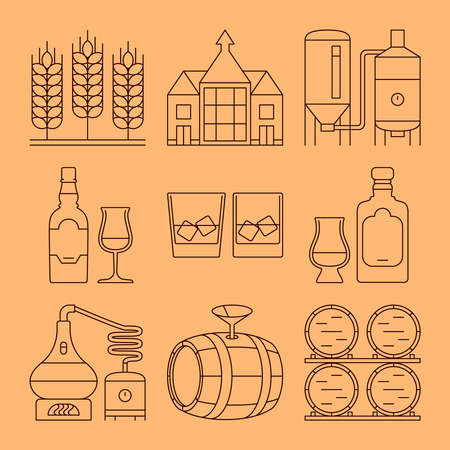 Whisky line icons set. Process and industry outline vector symbols Ilustracje wektorowe