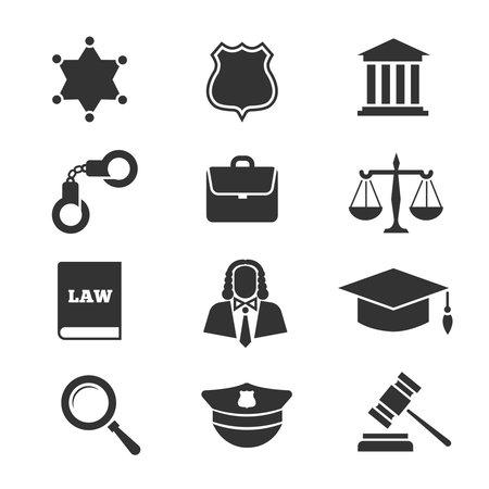 Justice, law, police vector icons Vektorové ilustrace